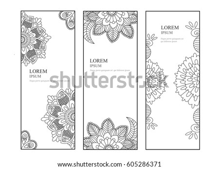 queue cards template - unique abstract hand drawn pattern card stock vector