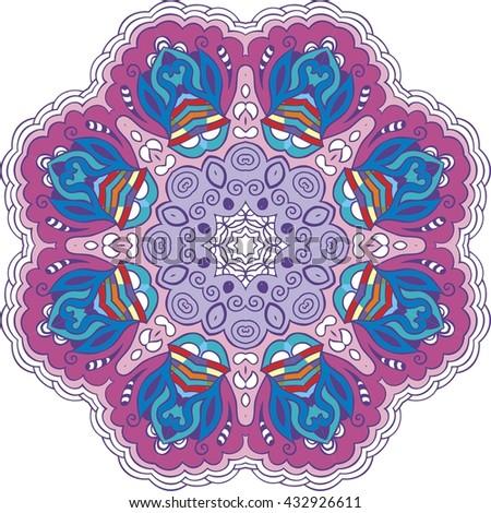 Mandala Color Circle Vintage Decor Paisley Elements Hand Drawn Esoteric Logo Pattern Symbol