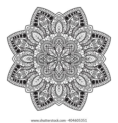 Mandala. Coloring Book Mandala. Outline mandala. Line mandala, isolated mandala. Page mandala, intricate mandala. Vector mandala. Mandala design. Anti stress mandala. Black mandala. Flourish mandala - stock vector
