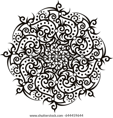 Mandala Coloring Book Pattern Design Zentangle Oval Round Vector