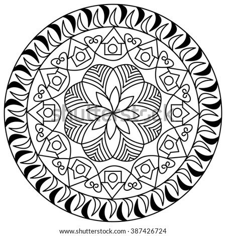 Mandala Coloring Page For Adults Floral Doodle Zen Tangle Design Elements