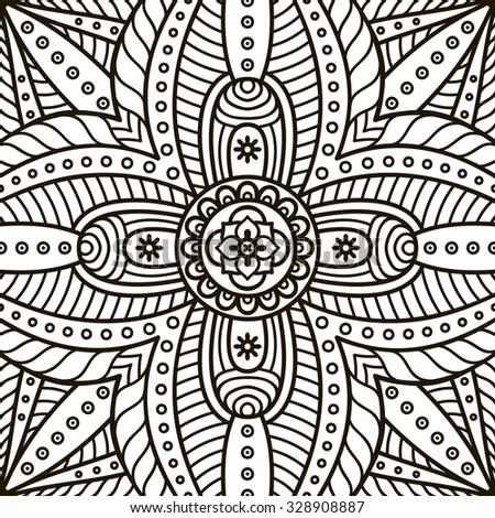 Mandala Coloring Page Vintage Decorative Elements Oriental Pattern Vector Illustration Islam