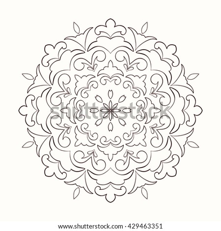 Mandala decorative element. Hand drawn mandala element can be used as invitation card for wedding, birthday and other holiday background. Islam, Arabic and Indian motifs. Vintage decorative element.