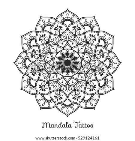 Mandala Decorative Ornament Design For Coloring Page Greeting Card Invitation Tattoo Yoga