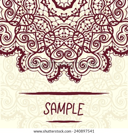Mandala design a lot of copyspace. Wedding invitation, delicate floral pattern. Vector background. Card of invitation. Vintage decorative elements. Hand drawn background. Ottoman motif. flyer design - stock vector