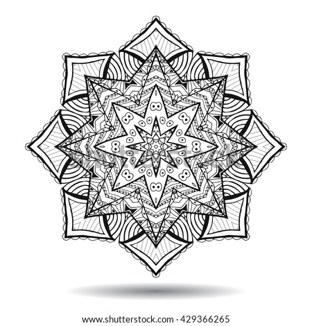 Mandala design element. Symmetric round zentangle. Abstract doodle background. Good for cards, invitations, party, bag, t-shirt, marketing materials. Coloring round ornament. Vector illustration - stock vector