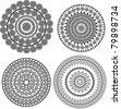 Mandala design - Henna art inspired, easily editable - stock vector