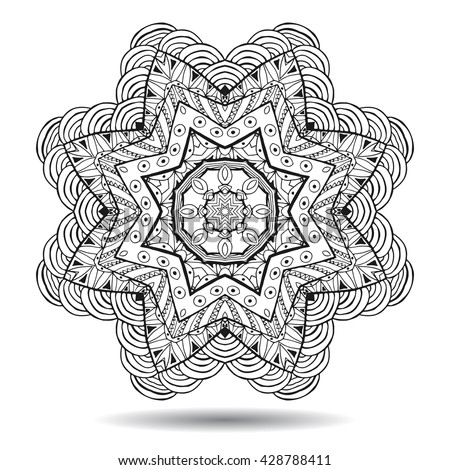 Mandala element. Symmetric zentangle. Abstract doodle background. Good for cards, invitations, party, bag, t-shirt, marketing materials. Indian east style. Coloring round ornament. Vector illustration - stock vector