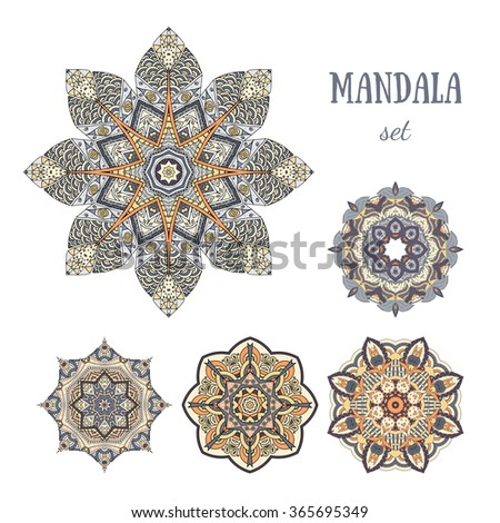 Mandala elements set. Symmetric color zentangle. Vector illustration. Abstract doodle background. Good for cards, invitation, presentation, party, bag, t-shirt, marketing materials. Indian east style. - stock vector