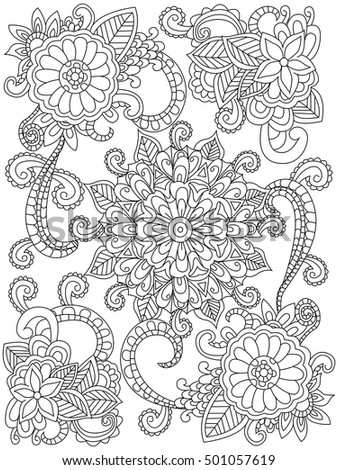 mandala flower coloring book for adults vector illustration anti stress coloring for adult - Flower Coloring Books For Adults