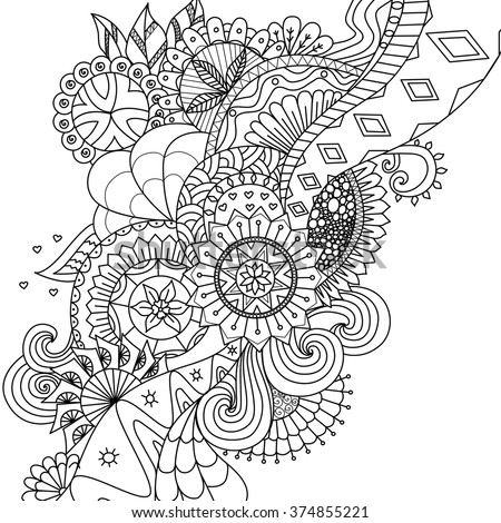 Mandala flowers for coloring book for adults - stock vector