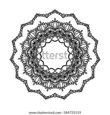 Vector Round Lace Indian Ornament Mandala Stock Vector 476910151