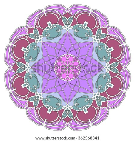 Mandala geometric round ornament, tribal ethnic arabic Indian motif, eight pointed circular abstract floral pattern. Hand drawn decorative vector design element  - stock vector