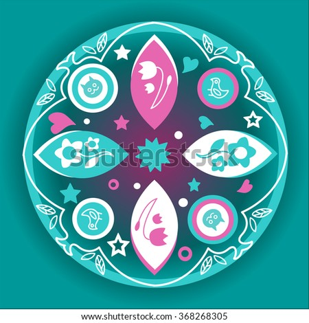Mandala in blue and pink colors  - stock vector