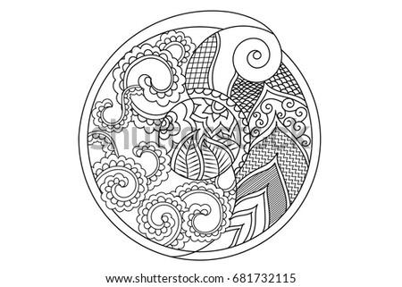 Mandala Indian Pattern Paisley Mehndi Design Hand Drawn Vector Coloring Book Page