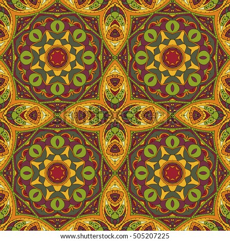 Mandala. Oriental pattern. Traditional seamless ornament. Turkey Egypt. Relaxing picture. Red and orange tone
