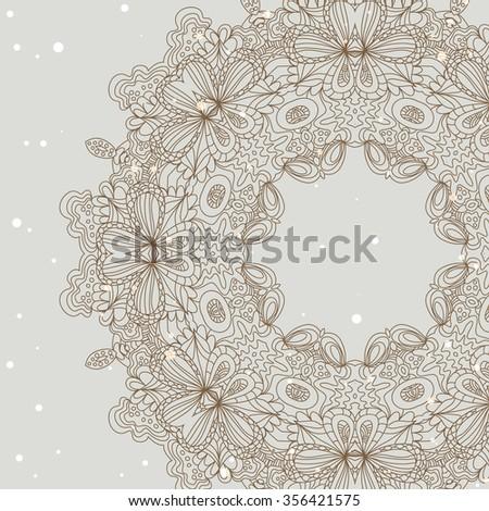 Mandala ornament Geometric circle element - stock vector