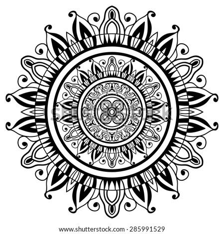 Mandala ornament, tribal ethnic pattern, Islamic Arabic Indian motif, isolated decorative element for card design, t-shirt print. Vector fashion illustration, hand drawn background. Black on white - stock vector