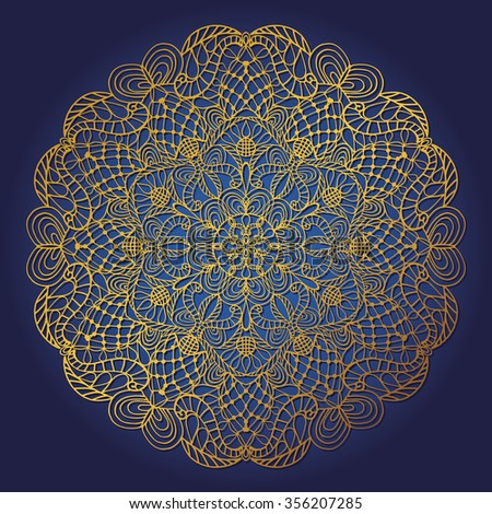 Mandala pattern. Vintage decorative vector ornament,background. East,Islam,Arabic,Indian,ottoman motif.Abstract Tribal,ethnic texture.Gold,blue  Orient,symmetry lace,meditation symbol.Sacred geometry - stock vector