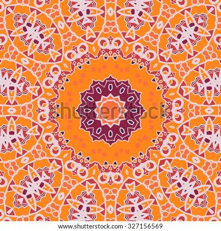 Mandala Print Chakra Circle. Seamless Ornamental Symmetry Pattern. Vintage decorative element. Hand drawn artwork. Islamic, Arabic, Persian, Indian, Ottoman motifs. - stock vector