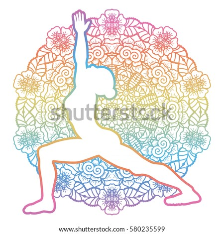 women silhouette mandala round background yoga stock