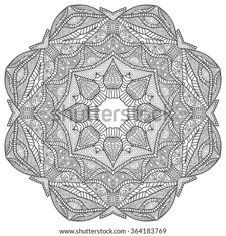 Mandala. Round Ornament. artistic ethnic ornamental patterned floral frame in doodle, zentangle style for adult coloring pages, tattoo, t-shirt or prints. Vector spring illustration. - stock vector