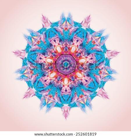 Mandala. Round ornament pattern, blue end rose - stock vector