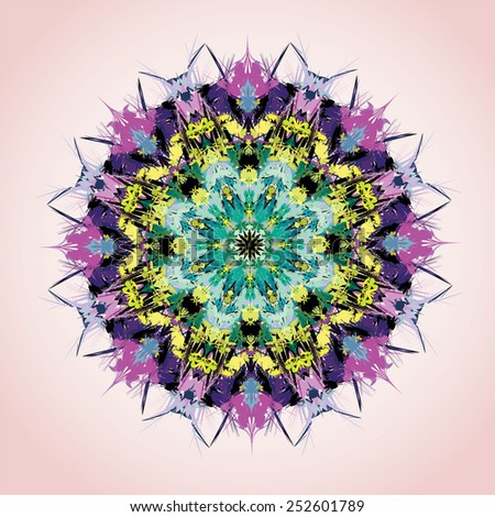 Mandala. Round ornament pattern, green and violet - stock vector
