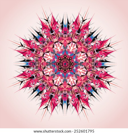 Mandala. Round ornament pattern, red and violet - stock vector
