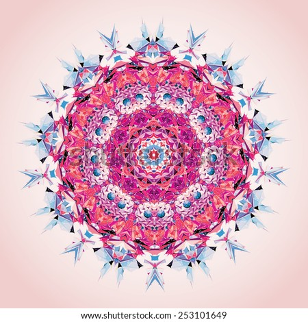 Mandala. Round ornament pattern, rose and violet - stock vector