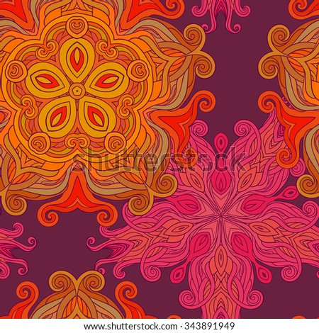 Mandala round ornament, tribal ethnic arabic Indian style, isolated decorative seamless pattern. Vector fashion illustration, circular abstract floral pattern on dark purple - stock vector