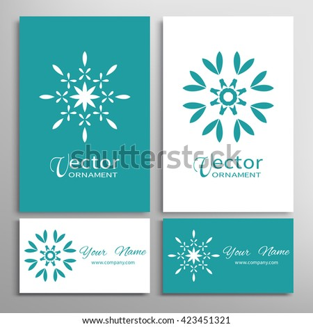 Mandala round ornaments and business cards set. Decorative design elements for logo, icon, label, invitation cards. Isolated floral patterns, stylized flower, star, snowflake. Tribal ethnic decoration - stock vector