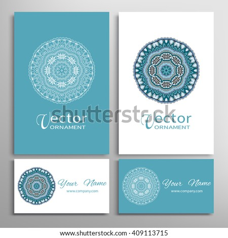 Mandala round ornaments collection, business cards set. Vector decorative elements for paper or fabric print. Logo, icon or invitation card design. Isolated tribal ethnic motif - stock vector