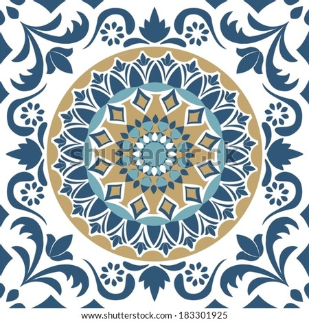 mandala seamless pattern - stock vector