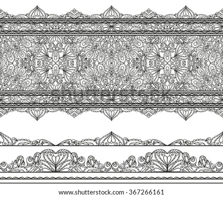 Mandala seamless pattern borders,strips background.Vintage decorative ornament.Orient  lace,East,Islam,Arabic Indian,ottoman or thai motifs.Abstract Tribal,ethnic texture.Vector decor - stock vector