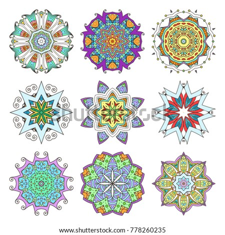 Mandala set. Abstract decorative background. Islam, Arabic, oriental, indian, ottoman, yoga motifs. Vector ornament collection