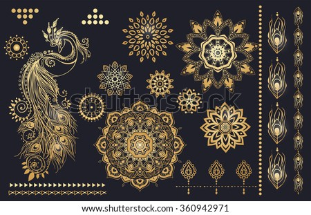 Mandala set and other elements. Vector. Mandala tattoo. Perfect  cards for any other kind of design, birthday and other holiday, kaleidoscope,  medallion, yoga, india, arabic - stock vector