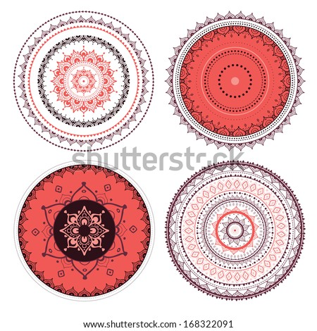 Mandala set. Vector Indian decorative pattern. - stock vector
