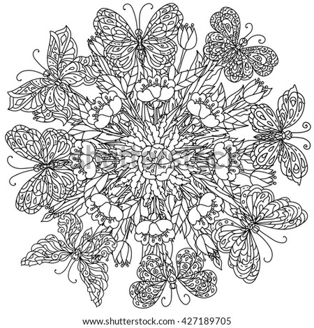 Zen Mandalas Coloring Book : Mandala shape flowers butterfly adult coloring stock vector
