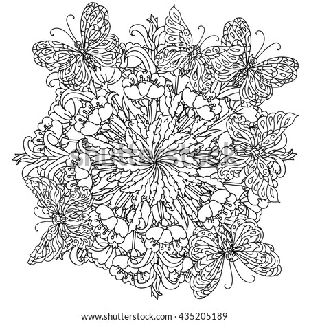 Beautiful Bouquet Flowers Black White Colorbook Stock