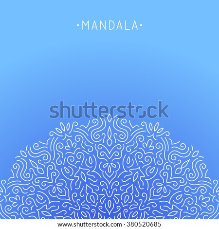 Mandala - simple thin line stylish sign / background / element. Ornamental vector pattern for web, print, canvas, poster. - stock vector