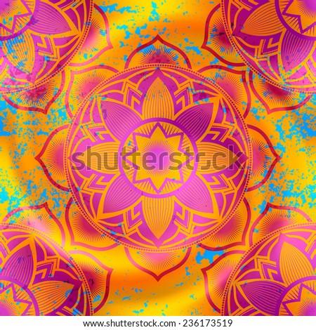 Mandala symbols pattern on orange blur background with spiral and grunge effect. - stock vector