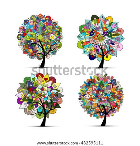 Mandala tree set, floral sketch for your design. Vector illustration