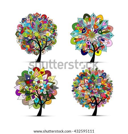 Mandala tree set, floral sketch for your design. Vector illustration - stock vector