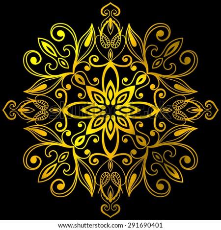 Mandala, tribal ethnic ornament, vector islamic arabic indian pattern. Gold and black. - stock vector