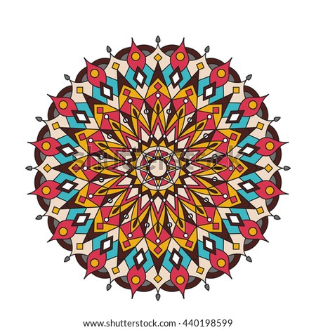 Mandala.Vector Ornament Pattern. Vintage decorative element for print ot design. Islam, Arabic, Indian, ottoman motifs. Oriental colorful mandala. - stock vector