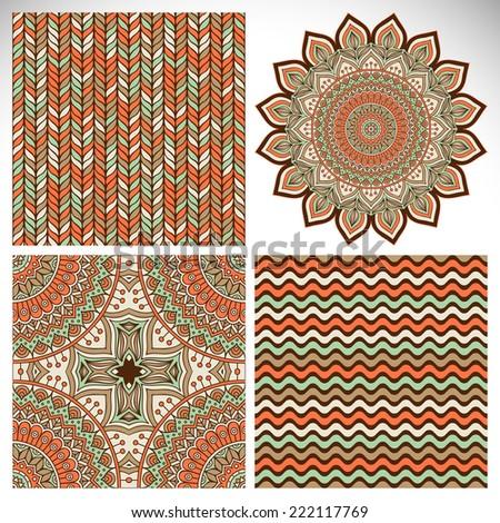 Mandala with seamless patterns. Round Ornament Pattern. Vintage decorative elements. Hand drawn background. Islam, Arabic, Indian, ottoman motifs. - stock vector