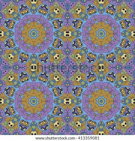 Mandala. Zentangl seamless ornament. Relax. Meditation. Blue, green and purple tones - stock vector