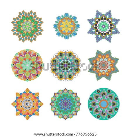 Mandalas collection. Asian traditional mehandi style decor. Oriental pattern, vector illustration. Vintage decorative elements. Round Ornament