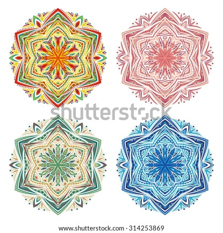 Mandalas collection. Round Ornament Vector Pattern. - stock vector